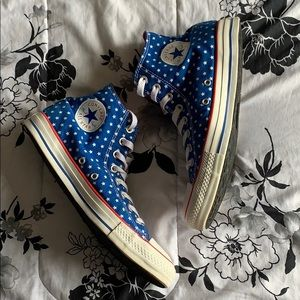 American Flag high top converse
